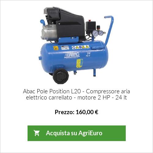 Compressore aria elettrico carrellato ABAC mod. Pole Position L20 - motore 2 HP - 24 lt