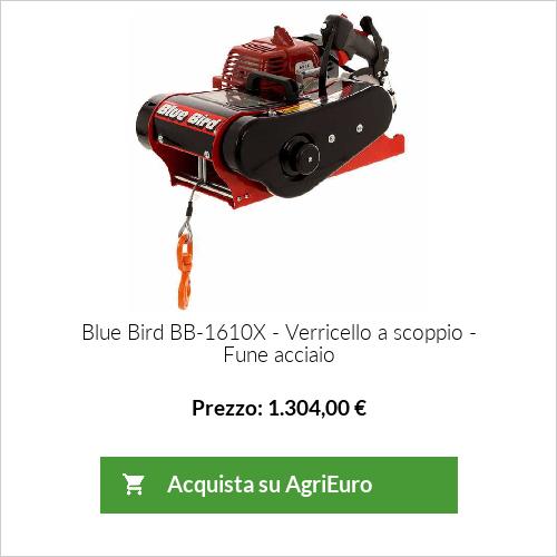 Verricello a motore Blue Bird Industries BB-1610X -  Argano a scoppio 2T - Fune acciaio