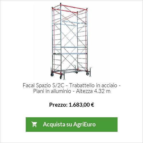 Trabattello in acciaio FACAL Spazio S/2C - piani di lavoro in alluminio - Altezza 4.32 m