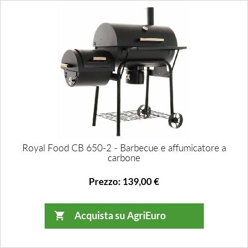 Barbecue a carbone CB 650-2 Royal Food con griglia in INOX  e affumicatore - Superficie di cottura 64,5x37x5 cm