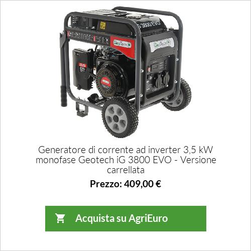 Generatore di corrente ad inverter 3,5 kW monofase Geotech iG 3800 EVO - Versione carrellata