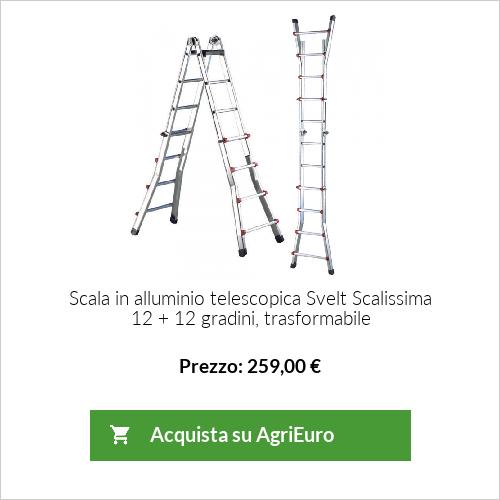 Scala in alluminio telescopica Svelt Scalissima 12 + 12 gradini, trasformabile