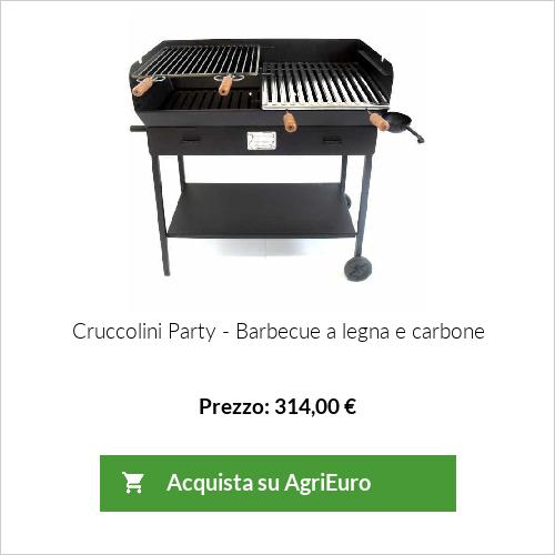 Barbecue a carbone-legna in lamiera pesante Cruccolini Party con doppia griglia
